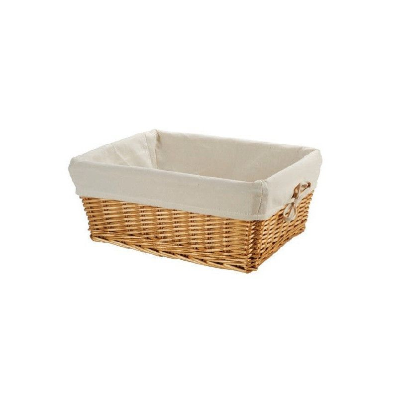 Small wicker basket with liner BRN - 1