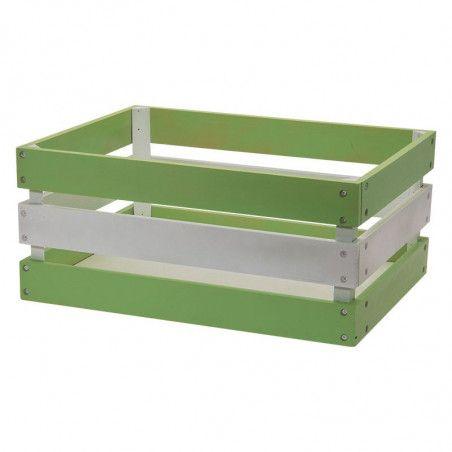 Wood basket Versilia green white Reinforced