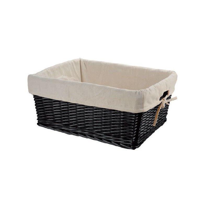 Large wicker black basket with liner BRN - 1