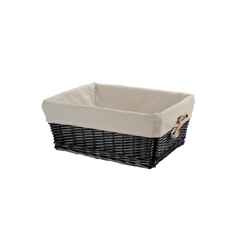 Small black wicker basket with liner BRN - 1