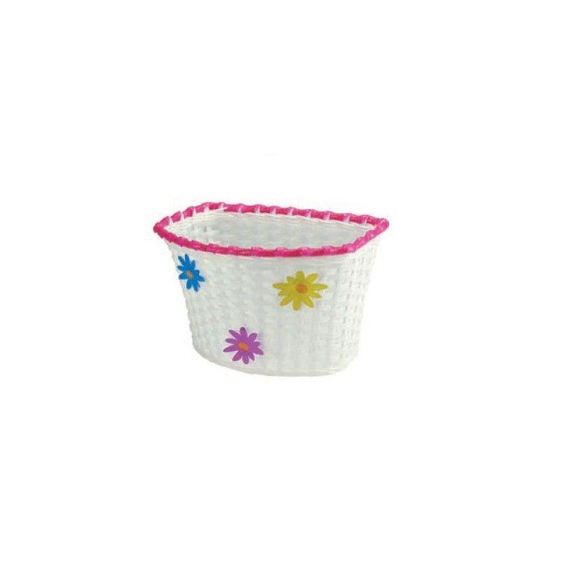 basket plastic baby Flower with white ties BRN - 1