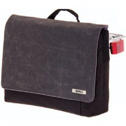 Shoulder Bag Postman canvas fabric black and black leatherette Vintage