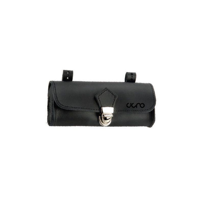 Oval Leather Handbag saddle black BRN - 1
