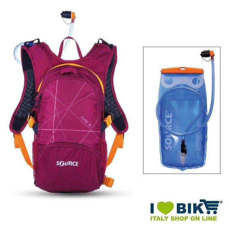 Zaino water bag Source Fuse 2-6 L Lilla con sacca idrica bike shop