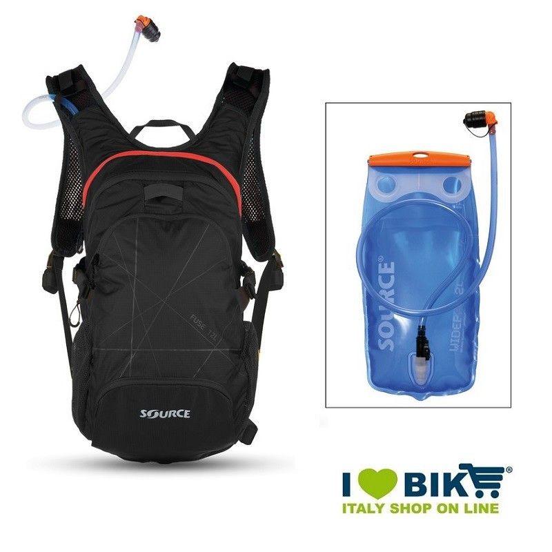 Zaino water bag Source Fuse XL 3-9 L nero/rosso con sacca idrica bike shop