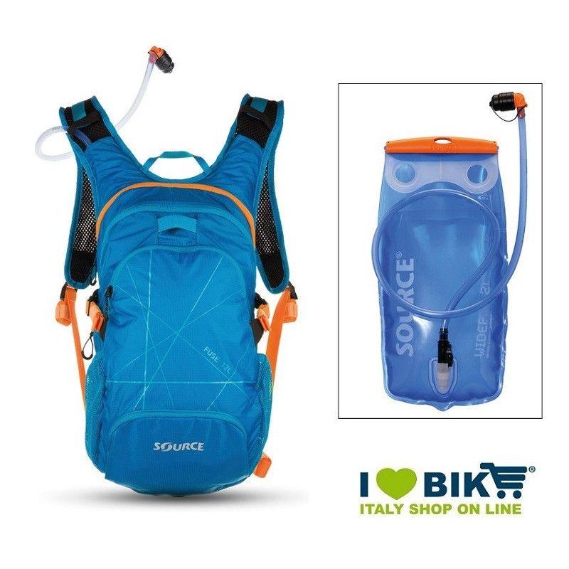 Zaino water bag Source Fuse XL 3-9 L azzurro con sacca idrica bike shop